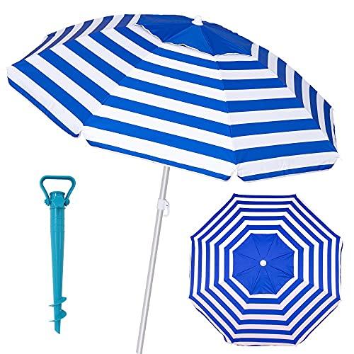 Pack sombrilla de Playa antiviento de Ø 180 cm Azul de Aluminio y Fibra Vidrio, con Soporte de Arena - LOLAhome