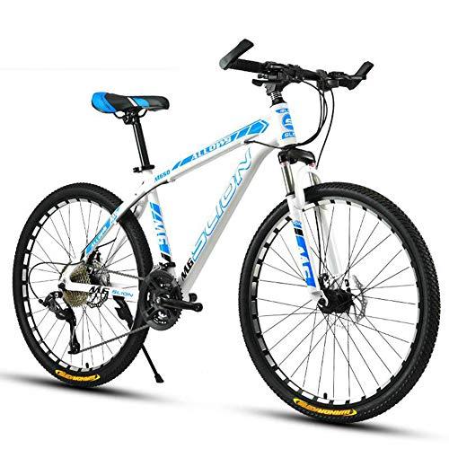 HUWAI Llena de Doble suspensión de la Bici de montaña, Bicicleta de montaña para Hombres y Mujeres, Estado 24, 26-Pulgadas, Llantas, chasis Medio Acero de Alta Resistencia,White Blue,24 Inches