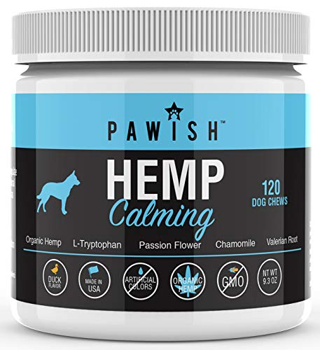Calming Treats for Dogs with Organic Hemp Oil, Tryptophan, Chamomile, Passion Flower & Valerian - Stress & Anxiety Relief for Separation, Travel, Fireworks, Storms and Barking - 120 Soft Chews