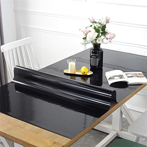 OstepDecor Custom Black Table Protector for 6 Foot Tables - 72 x 30 Inch Plastic Desk Cover Rectangular Table Pad for Kids