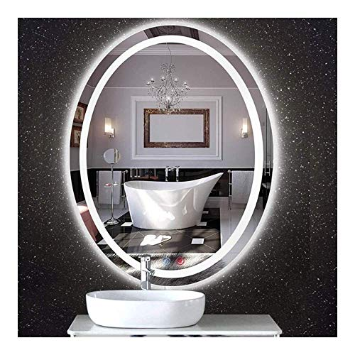 Pursue Espejo de baño sin Marco elíptico LED Doble Interruptor Inteligente Espejo de baño (Size : 60 * 80CM|White Light)