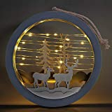 Christmas Decor for Windows Round Wooden Lighted Wall Art for Chirstmas with Reindeer and Christmas Tree Ornament for Indoor Outdoor Home Office Xmas Decor by 9.6''