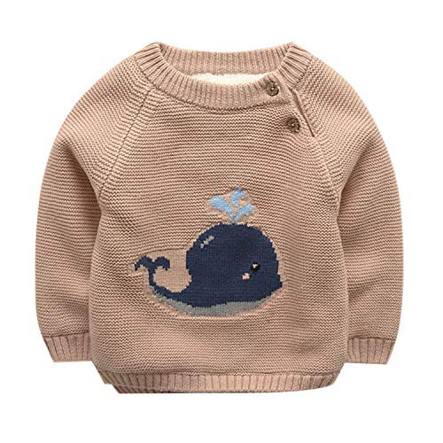 De feuilles Unisex Baby Kids Whale Intarsia Knitted Jumper Chunky Sweater Knitwear with Warm Lining (Khaki, 0-6 Months)