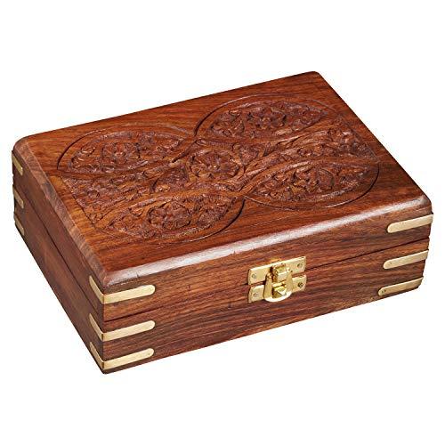 Caja oriental de almacenamiento pequeña con tapa Doaa de 18cm de alto | Caja oriental de joyas para niñas y damas para almacenamiento de joyas | Caja marroquí de madera