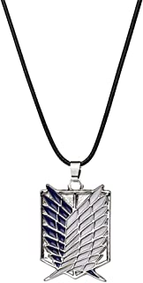 AILUOR Investigation Corps Pendant Necklace, Fashion Men Women Gold Silver Enamel Leather Rope Investigation Anime Cartoon Lovers Jewelry