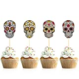 Donoter 48 Pieces Day of the Dead Sugar Skull Cupcake Toppers Dia De Los Muertos Cake Picks for Halloween Party Table Decorations