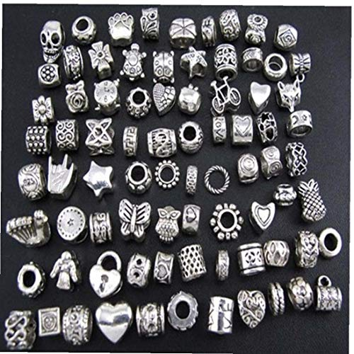 40pcs Silver Metal Beads Charms Fashion DIY Handmade Beads for Jewelry Making Skin Care Tools