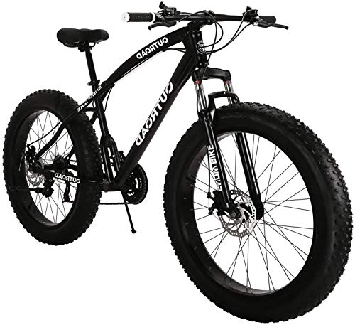 PanAme Mountain Bike with 26-inch Fat Tire, High-Carbon Steel Frame, 21-Speed, Disc Brake and Shock Absorber Fork, Black