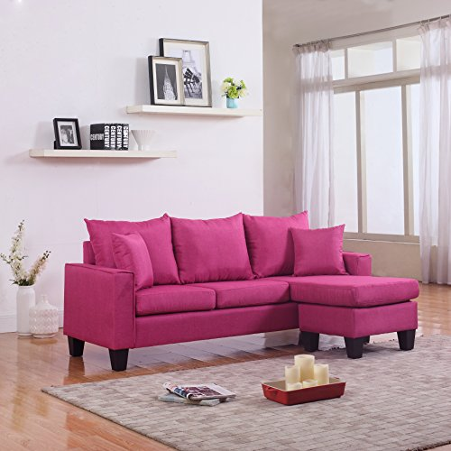 Divano Roma Furniture Modern Sectional, Rose Red