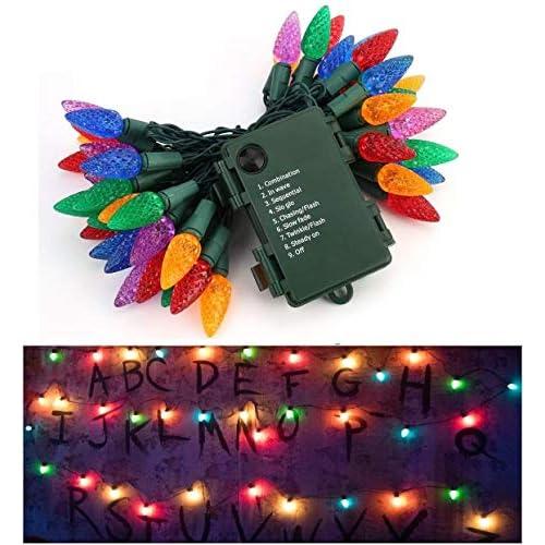 Catena Luminosa Di Luci Led Luci per Giardino, 50 LED Lucine Led Ispirato da Strangers Things Decorative per Casa, Feste, Natale, Matrimonio, Decorazioni
