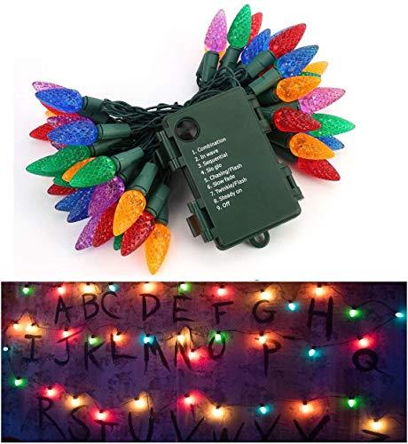 LED Cordes, Guirlande Lumineuse String Light 50 LEDs 5m Guirlande d'Eclairage Guirlande LED Décoration de Fenêtre Anniversaire Patio