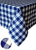 Tektrum 100% Polyester Waterproof 70 X 70 inch 70'X70' Square Checker Checkered Tablecloth Table Cover -Spill Proof/Stain Resistant/Wrinkle Free-for Camping Picnic, Dinner, Restaurant (Blue and White)