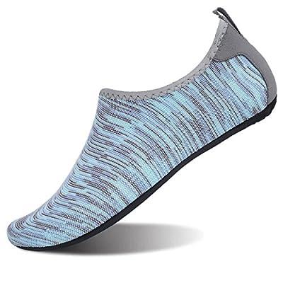 FEETCITY Mens Swim Shoe Womens Fitness Shoes Barefoot Water Footwear Sneakers Light Blue S(W:5.5-6.5,M:4-5)