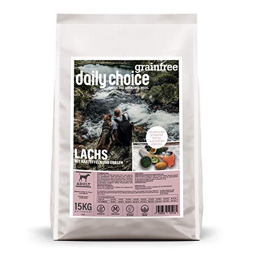 daily choice grainfree | 15 kg | Trockenfutter für Hunde | getreidefrei | Lachs mit Kartoffeln und Erbsen | Monoprotein mit Frischfleisch | Enthält Chicorée, Grünlippmuschel und wertvolle Kräuter