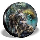 Y.Z.L. Cubierta De Llanta De Refacción Impermeable Impreso En 3D Wolf Universal Rueda De Repuesto Cubierta De Llanta De Refacción para Remolque, RV, SUV Y Muchos Vehículos 14-17IN