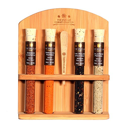The Spice Lab Chili Head Salt Collection - A collection of 4 Different Spicy Chili Tasting Salts - Taste the World of Salt