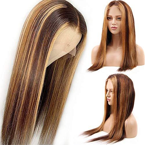 KHOBGLU 4/27 Droite Avant Lacet Perruques Cheveux Humains Pré Plumée 13x4 Avant Lacet Perruque Les Femmes 150% Miel Blonde Perruque Blanchie 20 Pouces