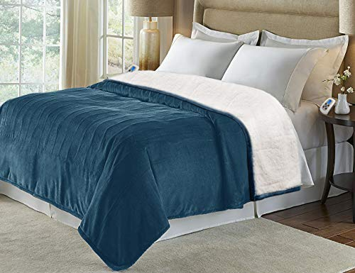 MARQUESS King Size Electric Blanket Throw,Flannel Sherpa Washable and Comfortable Heated Blanket with 4 Settings, Safety 10 Hours Auto-Off &Dual Temperature Dual Control by One Blanket(King, Navy)