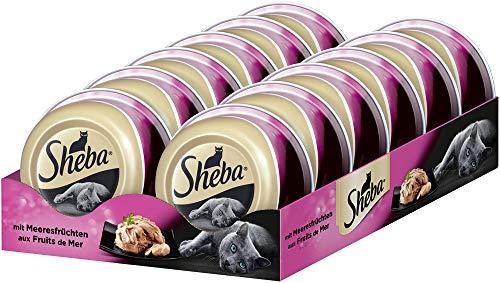 Sheba Feine Filets – Getreidefreies Nassfutter für Katzen als besonderer Snack – Saftige Filets aus Meeresfrüchten – 24 x 80g Katzennahrung in der Schale