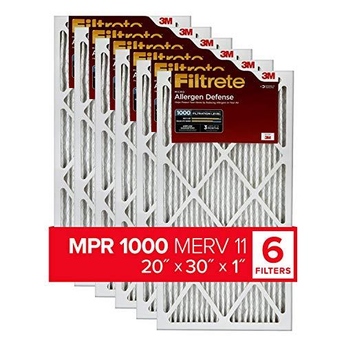 Filtrete MPR 1000 20x30x1 AC Furnace Air Filter, Micro Allergen Defense, 6-Pack