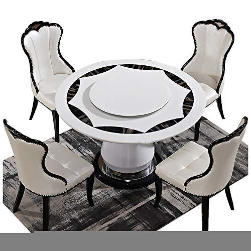 Mesa de Comedor, Mesa de Comedor de mármol y combinación de Silla con Plato Giratorio Mesa de Comedor Redonda 1 Mesa + 4 sillas,150CM Table 90CM Turntable