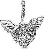 LaMenars Heart Wing Red Apple Barbell & Love Sparkling Freehand Heart Double Charm para pulseras 925 Colgantes de plata Cuentas para collares Cuelga para el día de la madre Cumpleaños Regalo