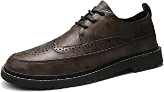 Happy-L Shoes, Retro Elegant Business Oxford for Men Formal Shoes Lace Up Style Microfiber Leather Waxy Shoelaces Wingtip Brogue Carving Breathable Lined