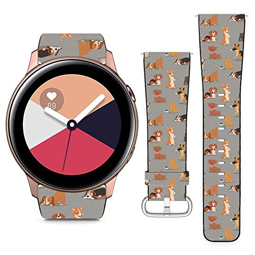 Compatible with Samsung Galaxy Watch Active // 20mm Leather Replacement Bracelet Strap Wristband with Quick Release Pins // Different Dogs Breed Cute Puppy