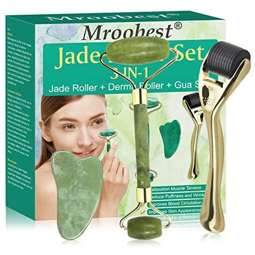 Jade Roller Visage, Dermaroller, 3-IN-1 Rouleau de Jade, Dermaroller et Gua Sha Set, Roller facial anti-age avec ses micro-aiguilles, pour relance le visage et le cou Peau, peau de serrage