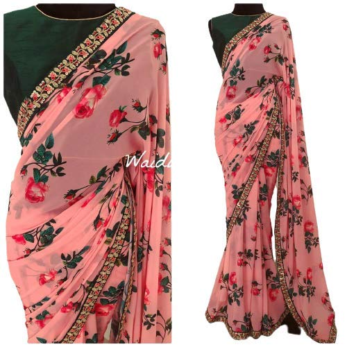 REVAA SAREES Women's Printed Georgette With Sequence Embroidery Lace Saree Dress Ethnic Wear