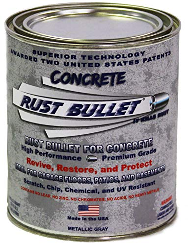 Rust Bullet for Concrete, Super-Tough Protective Floor Coating, Enhances Appearance and Adds Years of Life to Concrete Surfaces (Quart, Metallic Gray)