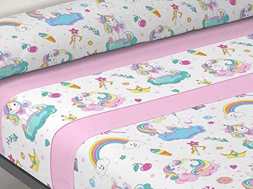 GURUGU Juego DE S�BANAS Estampadas 3/Piezas, Modelo: Unicornio, Color: Rosa, Medida: Cama DE 90cm.