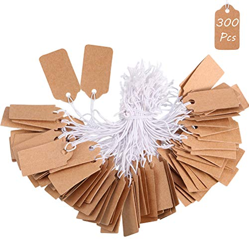 300 Pieces Marking Tags Kraft Price Tags Writable Blank Price Labels Display Tags with Elastic Hanging String(1.38 x 0.71 Inch)