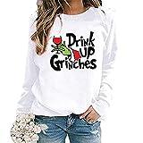 Sweat de Noël à manches longues pour femme avec inscription « Drink Up Grinches » et col rond (blanc, S)