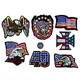 Coser O Planchar En Los Parches Apliques Para Ropa Camiseta Jeans Sombrero Bolsas, estilo americano de la bandera del águila de las barras y estrellas 7pcs
