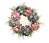 Hello Wreath for Front Door Handmade Hydrangea Wreath,letter wreaths for front door,Fall Wreath,farmhouse door wreaths,Grapevine Wreath,spring summer wreaths for front door,Everyday Wreath (21 inches)