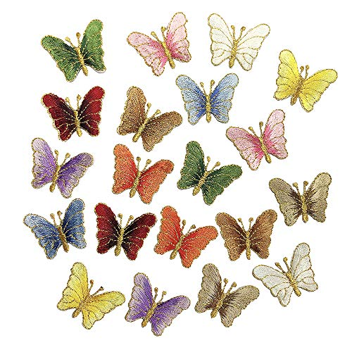 Juland 20 Stck Mini Schmetterling Bestickte Patches Selbstklebend Gestickte individuelle Rucksack-Aufnäher für Männer, Frauen, Jungen, Mädchen, Kinder