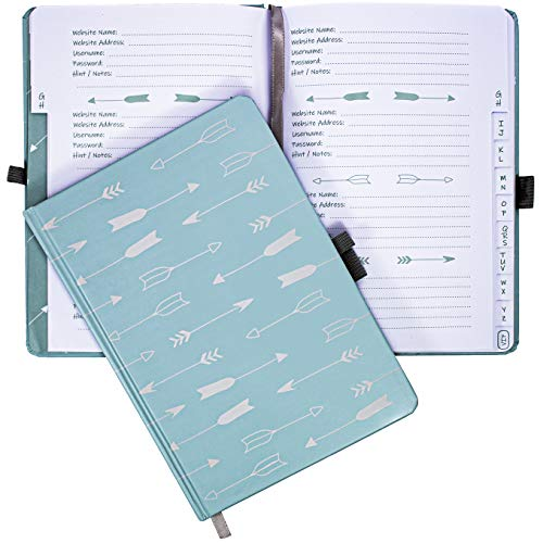 Password Book Logbook with Tabs by Budget Keeper- Password Organizer-Large Size Record Book with Pen Loop and Book Closure for Username & Password Record Keeping (Blue Arrows)