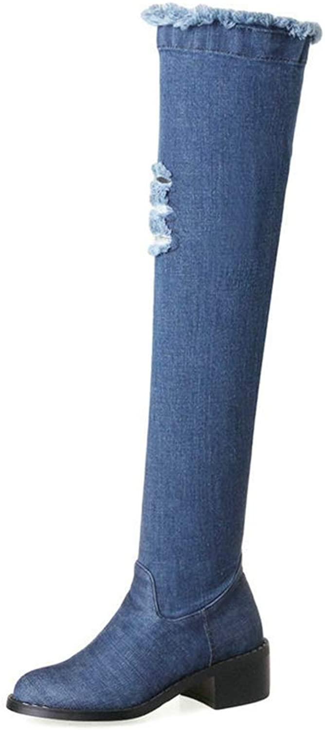 T-JULY Women's Autumn Gorgeous bluee Holes Denim Thigh Boots Comfortable Square Heel with Side Zipper Over The Knee Boots