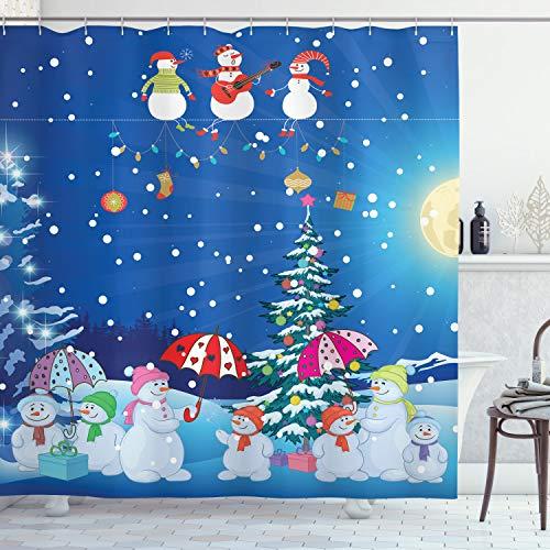 ABAKUHAUS Weihnachten Duschvorhang, Snowman Jolly Cartoon, Wasser Blickdicht inkl.12 Ringe Langhaltig Bakterie und Schimmel Resistent, 175 x 180 cm, Multicolor