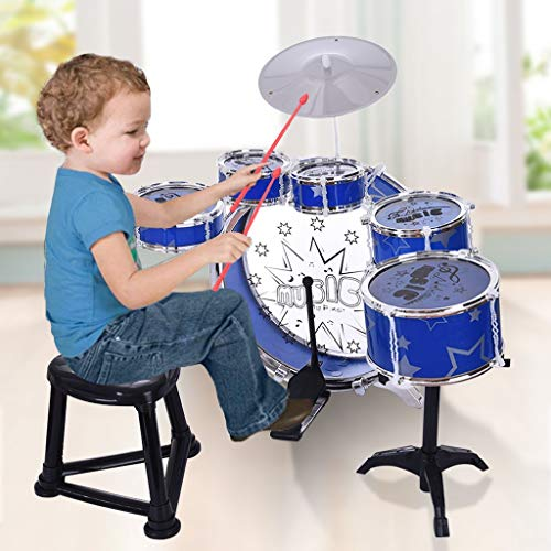 Kids Jazz Drum Set 12 Piece from US Warehouse - Kids Starter Drum Set for Beginner Learning 6 Drums Cymbal Computer Chair Kick Pedal - Ideal Gift Toy for Kids, Teens, Boys Girls