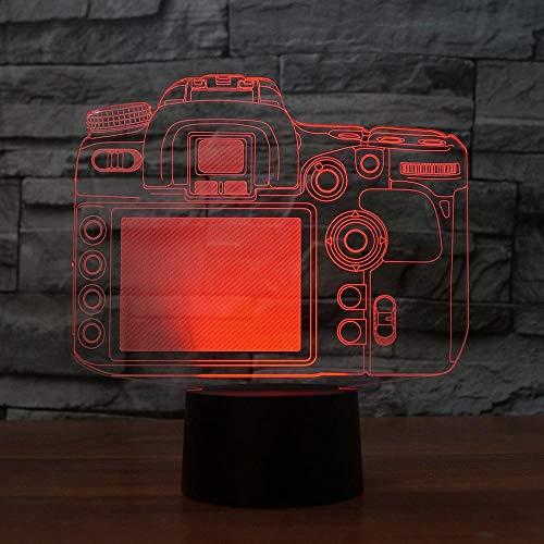 Luz nocturna para niños 3D luz nocturna creativa 3D cámara de luz modelo ilusión 3D lámpara LED 7 cambio de color USB sensor táctil escritorio lámpara de mesa luz nocturna regalo para niños