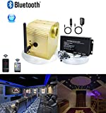 AZIMOM Bluetooth/App Control 16W Twinkle Fiber Optic Light Star Ceiling Lighting Kits with Shooting Star Effect Meteor Remote Music Mode RGBW Fiber Strands for Home Car Interior Decoration