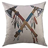 Mugod Decorative Throw Pillow Cover Two Crossed Tomahawks Feathers Beads Indian National Weapon Native American Ax Decorated Home Decor Pillow case 18x18 inch