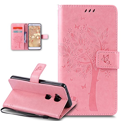 Kompatibel mit Huawei Honor 5X Hülle,Huawei Honor 5X Schutzhülle,Prägung Katze Schmetterlings Blumen PU Lederhülle Flip Hülle Handyhülle Ständer Tasche Wallet Hülle Schutzhülle für Huawei Honor 5X,Rosa