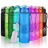 ZORRI Bouteille d'eau Plastique sans bpa Fitness Gourde Sport Ouvrir en 1 clic ,Bleu ,500ml-17oz