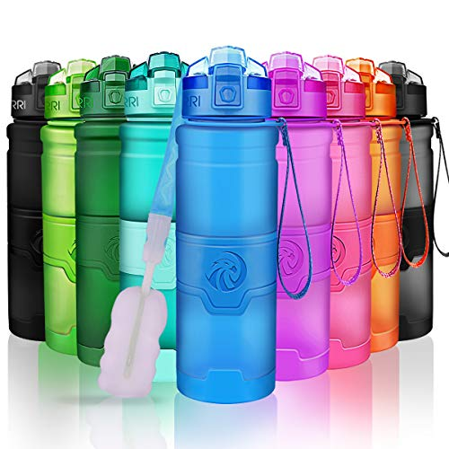 ZORRI Sport Wasserflasche Trinkflasche Bpa Frei Tritan Schule Sportflasche (500ml-17oz, Blau)