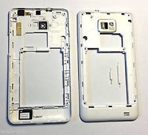 TELAIO CENTRALE GUSCIO POSTERIORE+TASTI LATERALI+LENTE FOTOCAMERA per Samsung Galaxy S2 i9100 BIANCO