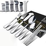 Set di posate, set di posate da 45 pezzi Fun Life, set di posate in acciaio inossidabile Set di posate da tavola, coltelli, forchette, cucchiai, per cucina domestica e ristorante, servizio per 8