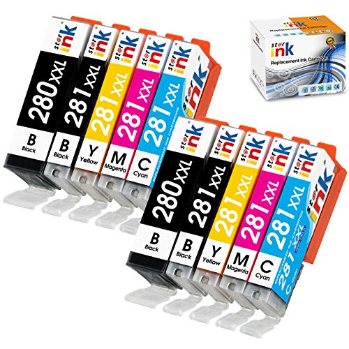 starink Compatible Ink Cartridge Replacement for Canon 280 281 XXL PGI-280XXL CLI-281XXL for Pixma TR8520 TR8620 TR7520 TS9520 TS9521C TS9120 TS6220 TS6320 TS8320 TS8220 TS6120 TS8120 TR7500, 10-Pack